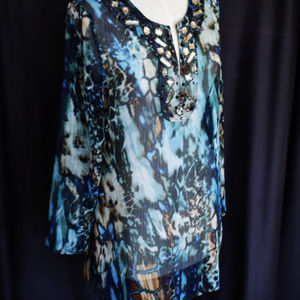 CHICOS Blouse Top 0 Embellished Front Sheer Multi